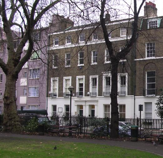 17 Red Lion Square, London, where William Morris lived as a young man with his friend Edward Burne-Jones from 1856 to 1859. Their house was the left of the pair of houses seen in the picture.