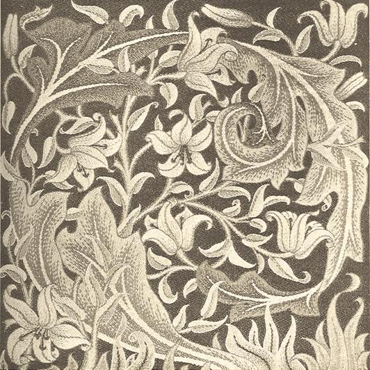 """Lily"" embroidered panel. Designed by William Morris"