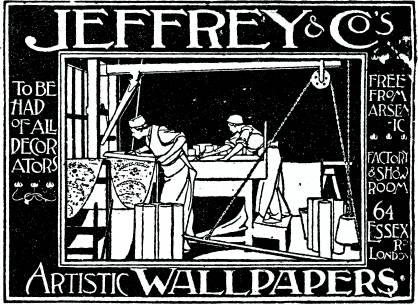 Advertisement for Jeffrey & Co. showing printers hand-blocking wallpaper. The heavy wood blocks were counter balanced to allow easy positioning onto the wallpaper