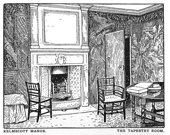An interior at Kelmscott Manor, with two 'Sussex' chairs that were produced by Morris & Co. after an early prototype found in the Sussex area.