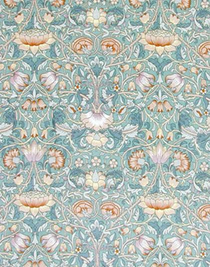 'Lodden' fabric designed by Morris in 1884 – this is the  design being printed in the above photograph.