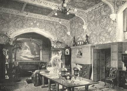 Stanmore Hall. One of Morris' more extravagant interiors, featuring his distinctive swirls of naturalistic leaves and flowers on the wall. Morris & Co. also provided several tapestries for this house.