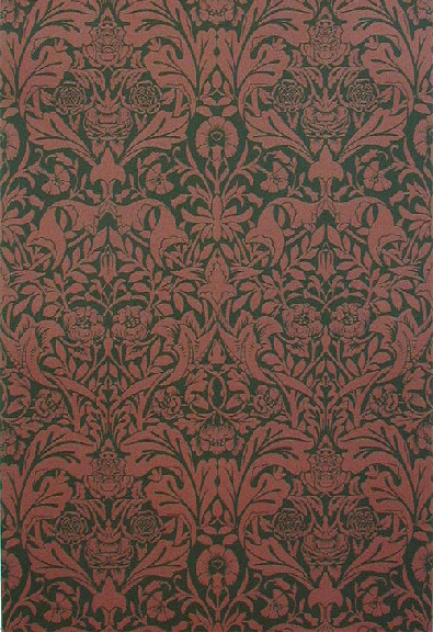 """St. James's Damask"" was a silk wallcovering used at St. James's Palace. It has now been made into a wallpaper in the original silk colouring (above) as well as two other paler colourways."