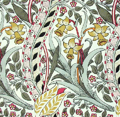 "Daffodil fabric. Used in the Morning Room at ""Standen"". Available from www.CharlesRupertDesigns.com"