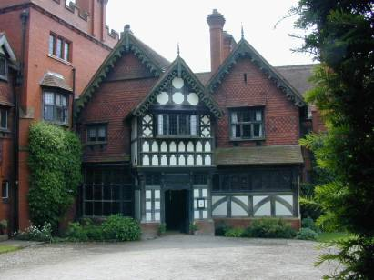 Wightwick Manor, near Wolverhampton, England. The entrance front. Built in 1887 and 1893. Now owned by The National Trust. One of the best Morris interiors available to visit, with many Morris wallpapers, tapestries and stenciled ceilings.  There are also Pre-Raphaelite paintings and Victorian gardens and woodland to see.