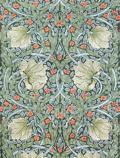 Pimpernel – Handprint. Designed in 1876. Used in the billiard room at Wightwick Manor. Available in two colourways from www.CharlesRupertDesigns.com.