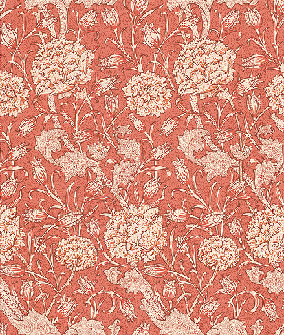 Wild Tulip Wallpaper. This colourway matches the wallpaper in the Dining Room at Wightwick. Designed in 1884 by William Morris, the design was based on an Italian cut velvet acquired by the Victoria & Albert museum in 1883.